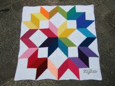 Carpenter Wheel Afghan in C2C (corner-to-corner) squares, free quilt-style pattern by Lissa Mitchell. Square size is easily adjustable. Pic from Ravelry Project Gallery by Rijka. . . . ღTrish W ~ http://www.pinterest.com/trishw/ . . . #crochet #blanket #throw