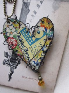 Tin Jewelry Layered Stitched Heart Pendant Garden by TheMadCutter, $28.00