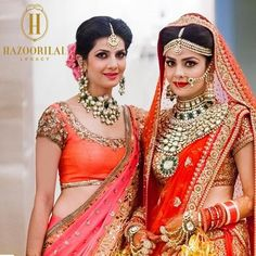 : Jewellery as exquisite as the day that marks her new legacy of love. The bride and sister of the bride in crafted by Indian Wedding Jewelry, Indian Bridal Wear, Bridal Jewellery, Indian Weddings, Bridal Looks, Bridal Style, Indian Dresses, Indian Outfits, Indian Costumes