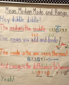 Math-mean, median, mode, and range anchor chart. We used it to the tune of Hey diddle diddle the cat & the fiddle.