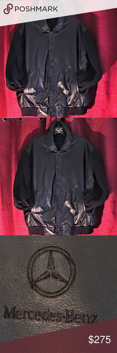 😎 Mercedes Benz varsity leather jacket😎 This is a Mercedes Benz leather varsity jacket with the lambskin sleeves has two side pockets zipper front with the snaps and also inside pocket  lined and black great driving jacket any questions please ask size XL mercedes Benz Jackets & Coats Bomber & Varsity