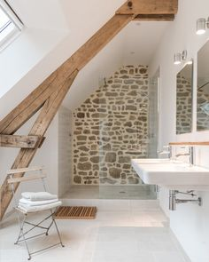 Ferienhaus Le Cerisier, das Badezimmer – – Wo … Le Cerisier house rental, the bathroom – – Where …, Estilo Interior, Contemporary Decor, Modern Decor, Bathroom Inspiration, Design Inspiration, Design Ideas, Renting A House, Small Bathroom, Loft Bathroom