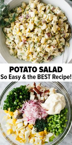 salad recipes This potato salad recipe is a classic! Its easy, flavorful, creamy and crunchy - thats why its the BEST! Learn how to make potato salad thats not mushy or watery. Its a great salad recipe and perfect for barbecues, potlucks and parties. Best Potato Salad Recipe, Great Salad Recipes, Best Potatoe Salad, Yukon Gold Potato Salad Recipe, Red Potato Recipes, Salad Recipes For Parties, Classic Potato Salad, Creamy Potato Salad, Potato Egg Salad