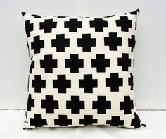 "Me Plus You - black and natural plus sign repeat pattern organic screenprinted pillow 20""x20"".via Etsy."