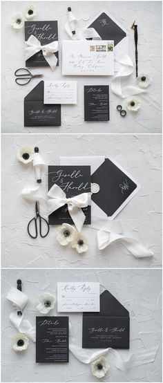 White and black calligraphy wedding invitations