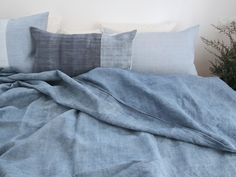 Duo-Color Sea Blue Bed Cover