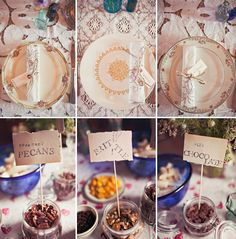 Collect vintage plates from local thrift stores. Cheap and you can give them out as favors or keep them for your plate collection. This way you don't need to register for expensive china. This is what we did for our wedding! {Jagger Photography}
