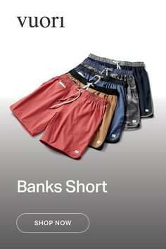 The ultimate in versatility, the Banks Shorts are made from four to five recycled plastic bottles each to take you from land to sea and beyond. It's an athletic short built with a scalloped leg for your most universal performance item. Casual Chic, Men Casual, Track Suit Men, Casual Outfits, Fashion Outfits, Gentleman Style, Athletic Shorts, Stylish Men, Well Dressed