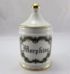 Vintage French Limoges Porcelain Apothecary Pharmacy Jar Morphine | eBay