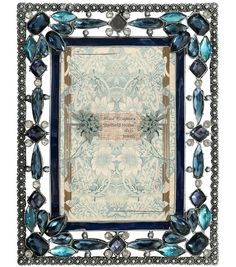 Mixed Company 4x6 Frame with Blue Floral Jewels