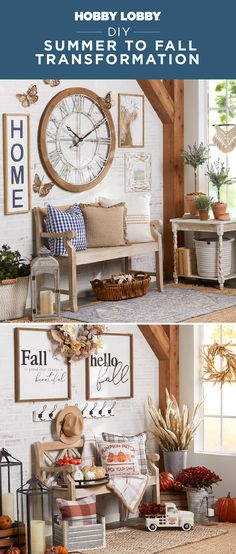 Go from sunny summer to cozy fall with only a few easy changes to your home decor! Find everything you need to make the update in store or online. Summer Diy, Autumn Summer, Entryway Ideas, Entryway Tables, Decor Crafts, Diy Crafts, Home Decor, Shabby Home, Hello Beautiful