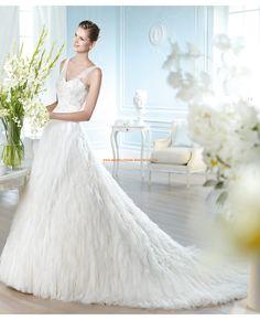 2014 Romantische Brautkleider aus Satin und Tüll mit Schleppe