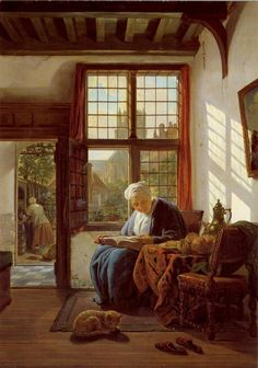 Tumblr -Woman Reading by a Window by Abraham van Strij, 1800