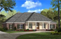 This alluring French style house desgin (House Plan # 142-1103) has over 2900 square feet of living space. The 1 1/2 story floor plan includes 4 bedrooms and 2 1/2 bathrooms. | The Plan Collection