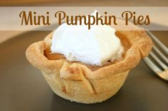 Mini Pumpkin Pies in a Muffin Tin. A fun way to make sure you don't over eat a delicious Thanksgiving treat!