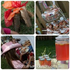 Tissue paper campfire, Cowgirl Party Food and Mason Jar Drinks