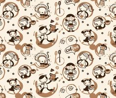 Coffee rings can be fun!!! fabric by bora on Spoonflower - custom fabric. Must be used somehow.