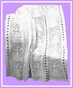 Free crochet pattern to make a baby afghan in an angel pattern.