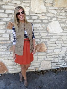 coral skirt, striped t-shirt, olive green old navy vest, booties