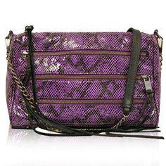 Rebecca Minkoff Purple Snakeskin 5 Zip Bag
