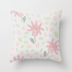Tropical abstract flowers Throw Pillow by oanadara Flower Pillow, Abstract Flowers, Custom Design, Tropical, Throw Pillows, Blanket, Fabric, Pattern, Tejido