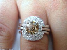 14K White Gold Champagne & White Diamond Engagement Ring Wedding Band Set 1.41ct Hand Made $2,900.00