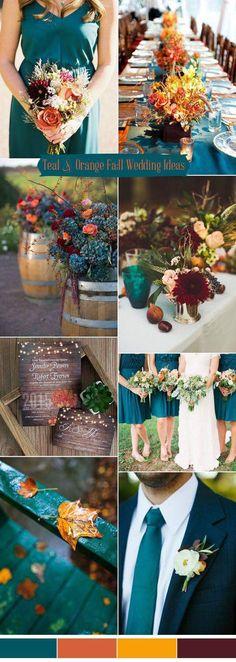 Fall Wedding Colors Teal Color Schemes Rustic Orange