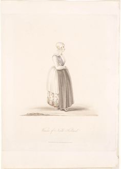 Vrouw in de dracht van Noord-Holland, ca. 1817 Woman of North Holland	 tekenaar:  	 Semple, miss uitgever:  	 Ackermann, R. #NoordHolland