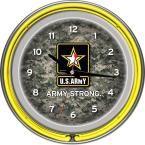 14 in. U.S. Army Digital Camo Chrome Double Ring Neon Wall Clock, Multi