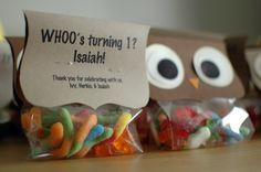 These are cute party favor ideas too. Owl filled gummy worm bags.