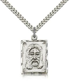 Holy Face medal 1 x on continuous chain. Available in sterling silver with stainless chain & gold with gold plated chain. Catholic Jewelry, Sterling Silver Pendants, Dog Tag Necklace, Silver Plate, Pendant Necklace, Chain, Jesus Christ, Face, Bliss