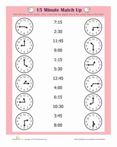 First Grade Time Worksheets: Quarter Hour Practice telling time with this match up worksheet! Kids will work on telling time to the quarter hour. Clock Worksheets, Kindergarten Math Worksheets, Worksheets For Kids, Math Math, Basic Math Worksheets, 2nd Grade Worksheets, Alphabet Worksheets, Math Resources, Teaching Time