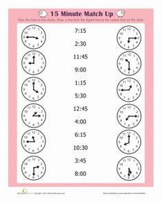 First Grade Time Worksheets: Quarter Hour