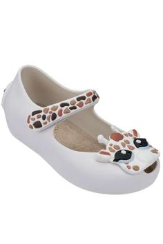 How adorable are these?!! Mini Melissa IV Giraffe Shoe in white is such a great neutral!!! $60, FREE US SHIPPING