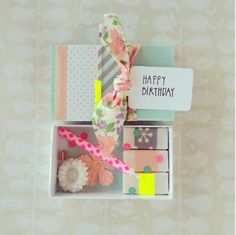 11 Party-in-a-Box Gift Ideas to Send for Your Bestie's Birthday - Brit + Co Matchbox Crafts, Matchbox Art, Homemade Gifts, Diy Gifts, Birthday Box, Birthday Message, Happy Birthday, Pretty Packaging, Gift Packaging