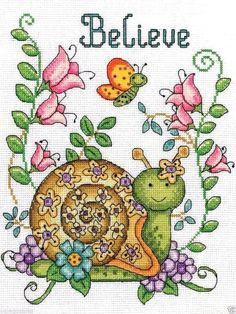"""Design Works Counted Cross Stitch Kit 8"""" x 10"""" ~ BELIEVE - SNAIL #2837 Sale"""