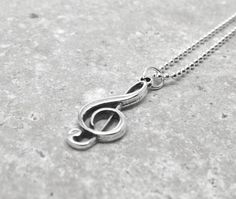 Music Note Necklace Treble Clef Sterling by GirlBurkeStudios, $27.00
