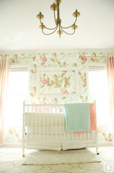 Beautiful girls nursery - love the floral wallpaper eclecticallyvintage.com