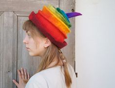 Rainbow felted hat  fancy toque hat winter fashion by filcAlki