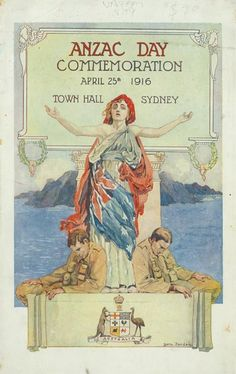 Note the female draped in the flag,pleading with arms outstretched,prone weary or wounded soldiers flanking her,Gallipoli Peninsula in the background