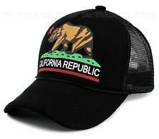 California Republic hat Bear cap Foam Trucker Mesh Snapback Baseball cap- Black