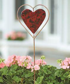 Loving this Red Heart Disc Garden Stake on #zulily! #zulilyfinds