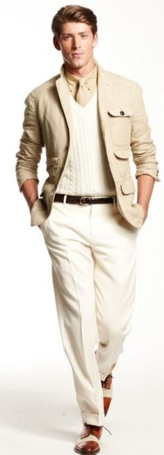 Cream Linen Safari Jacket, and White Jeans. Men's Spring Summer Fashion.