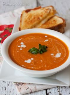 Pressure Cooker Creamy Tomato Basil Parmesan Soup recipe from Pressure Cooking Today.