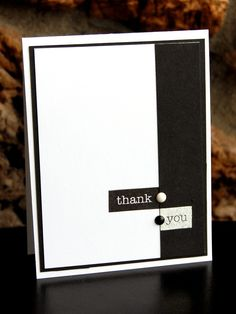 Love the stark contrast on this black and white handmade thank you card, using the Everyday Labels stamp set for the words. Black and white enamel dots help accent the colors.