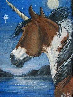 ACEO SFA Paint Pinto Skewbald Unicorn Fantasy Horse Sunrise Original Art | eBay