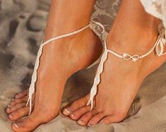 Infinity crochet barefoot sandals, Beach wedding shoes, Footless Brides sandals, Bottomless sandals, Friendship gift, Bohemian wedding #weddingshoes