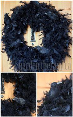 Halloween Crow Feather Wreath