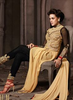 Peach And Black Pure Georgette With Velvet Churidar Suit