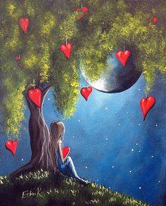 Kai Fine Art is an art website, shows painting and illustration works all over the world. Moon Art, Moon Moon, Heart Art, Whimsical Art, Fantasy Art, Art Drawings, Art Photography, Illustrator, Illustration Art